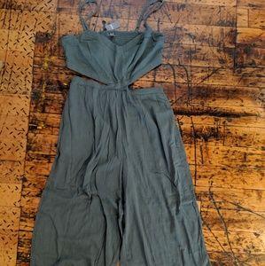 Linen Wide Leg Jumpsuit with Cutouts